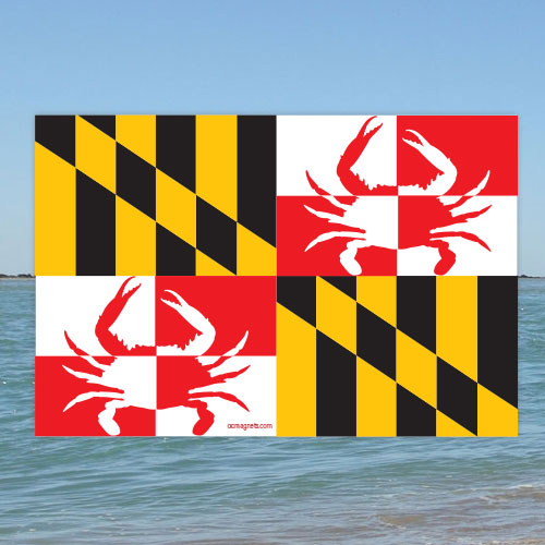MD Crab Rectangle Flag (Sticker)
